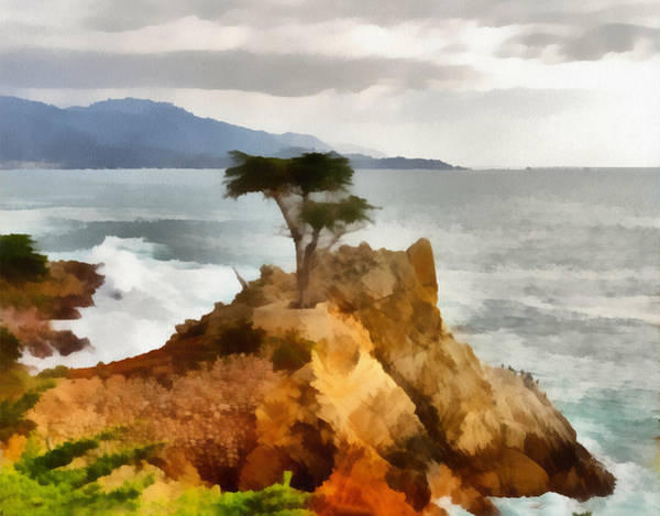 Pebble Digital Art - 17 Mile Drive Lone Cypress by Barbara Snyder
