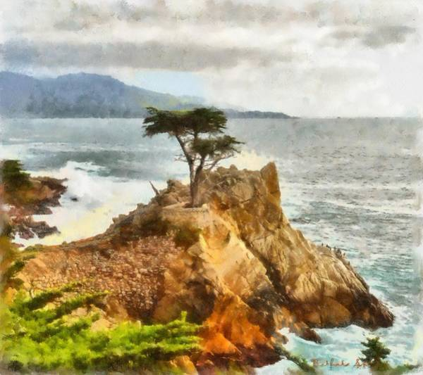 Pebble Digital Art - 17 Mile Drive Lone Cypress Watercolor by Barbara Snyder