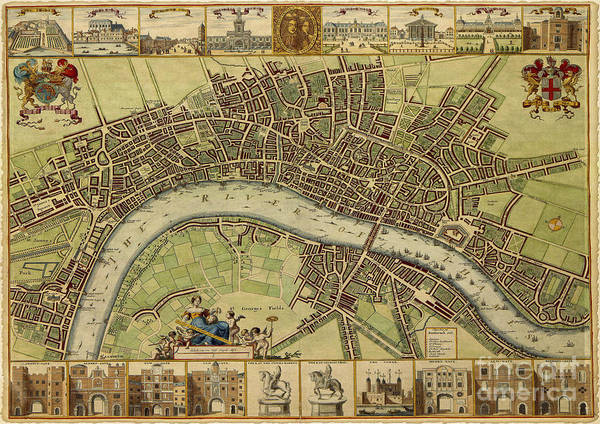 Projection Digital Art - 17 Th Century Map Of London England by Melissa Messick
