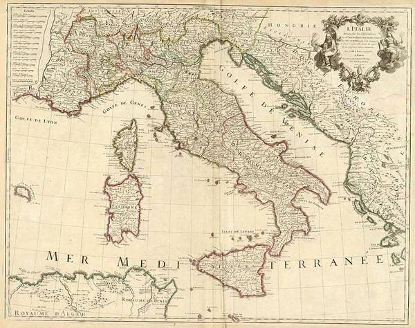 Painting - 1700 Map Of Italy by Guillaume de Lisle