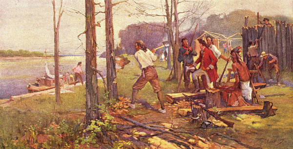 Settlers Painting - 1700s 1764 Pierre Laclede Clearing Land by Vintage Images