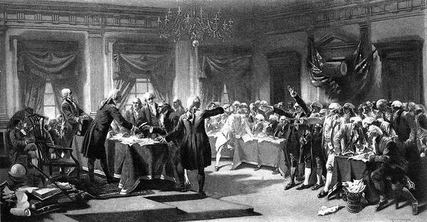 Congress Painting - 1700s 1770s July 4, 1776 Signing by Vintage Images