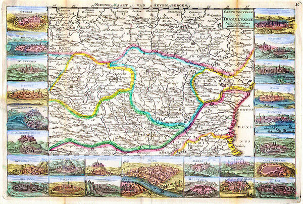 Moldova Wall Art - Painting - 1710 De La Feuille Map Of Transylvania And Moldova by Celestial Images