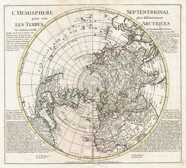 1741 Photograph - 1741 Covens And Mortier Map Of The Northern Hemisphere  North Pole Arctic by Paul Fearn