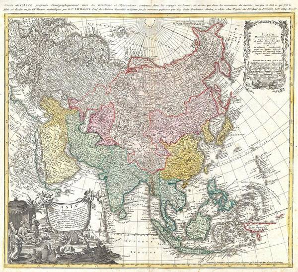 Made In Japan Wall Art - Photograph - 1744 Homann Heirs Map Of Asia  by Paul Fearn