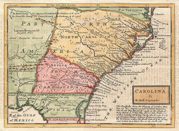 Battle Of The Atlantic Wall Art - Photograph - 1746 Herman Moll Map Of Carolina by Paul Fearn