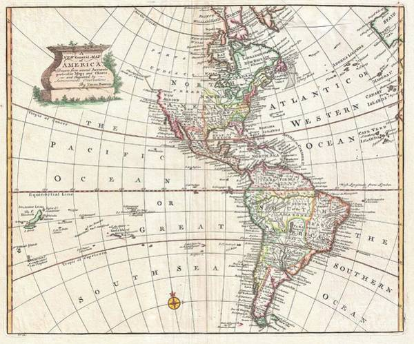 Encounter Bay Photograph - 1747 Bowen Map Of North America And South America by Paul Fearn