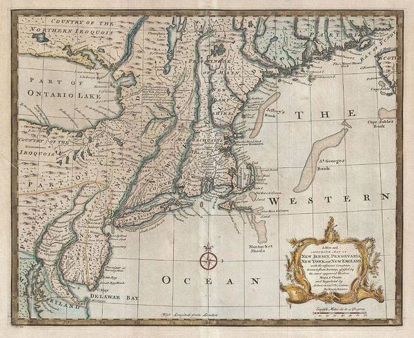 New Jersey Mixed Media - 1747 New Jersey Map by Dan Sproul
