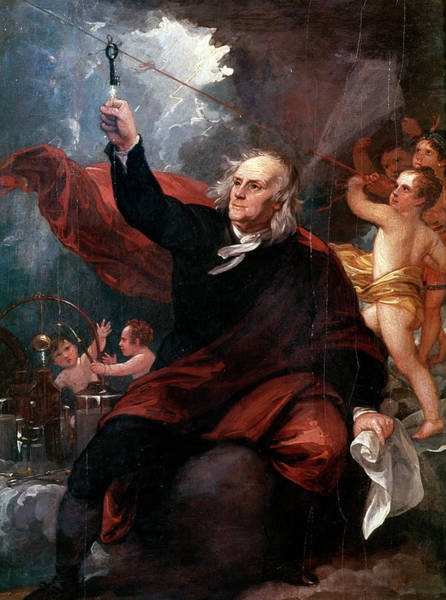 Experiment Painting - 1750s Benjamin Franklin Touching Key by Vintage Images