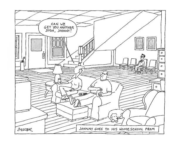 High School Drawing - New Yorker May 26th, 2008 by Jack Ziegler