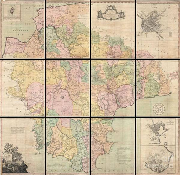 Somerset County Photograph - 1765 Benjamin Donn Wall Map Of Devonshire And Exeter England by Paul Fearn