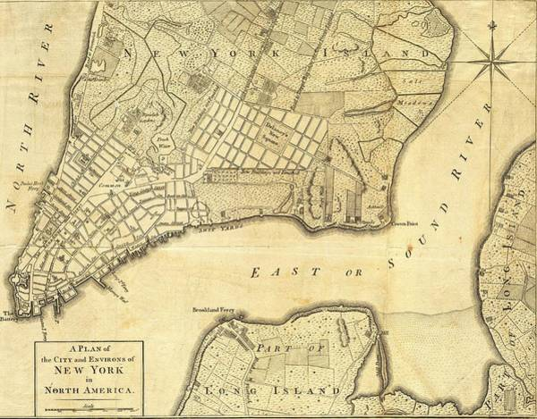 Revolutionary War Mixed Media - 1776 New York City Map by Dan Sproul