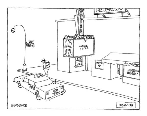 Taxi Drawing - New Yorker March 6th, 2000 by Jack Ziegler