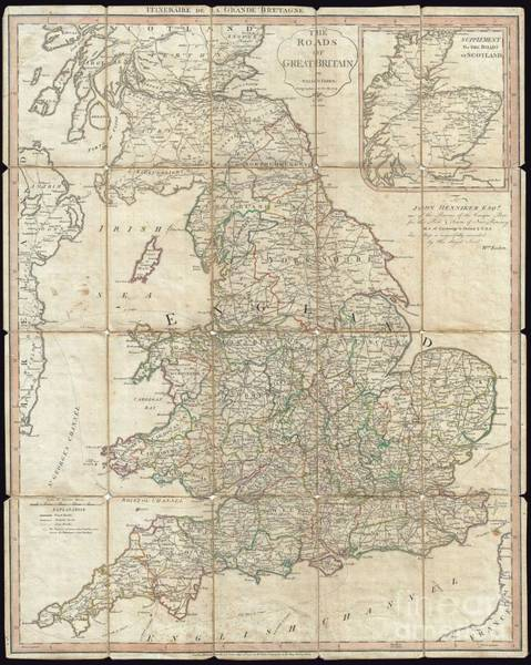 Henniker Wall Art - Photograph - 1790 Faden Map Of The Roads Of Great Britain Or England by Paul Fearn