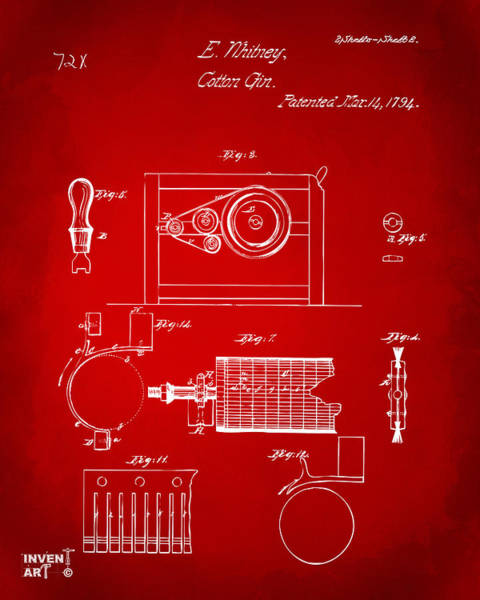 Wall Art - Digital Art - 1794 Eli Whitney Cotton Gin Patent 2 Red by Nikki Marie Smith