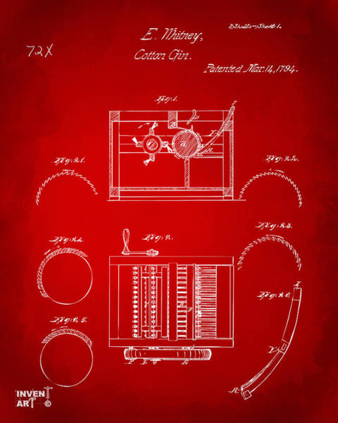 Wall Art - Digital Art - 1794 Eli Whitney Cotton Gin Patent Red by Nikki Marie Smith