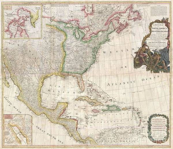 1794 Pownell Wall Map Of North America And The West Indies Art Print