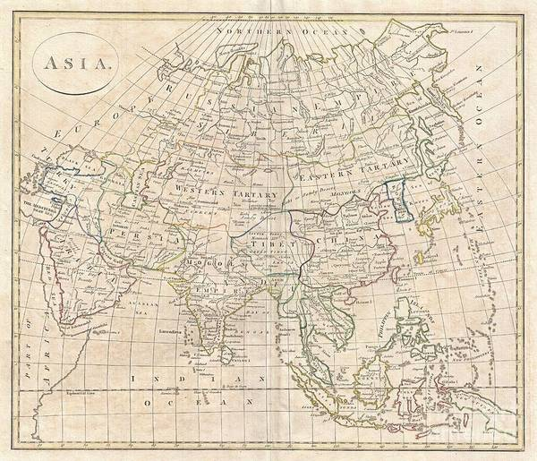 Made In Japan Wall Art - Photograph - 1799 Clement Cruttwell Map Of Asia by Paul Fearn
