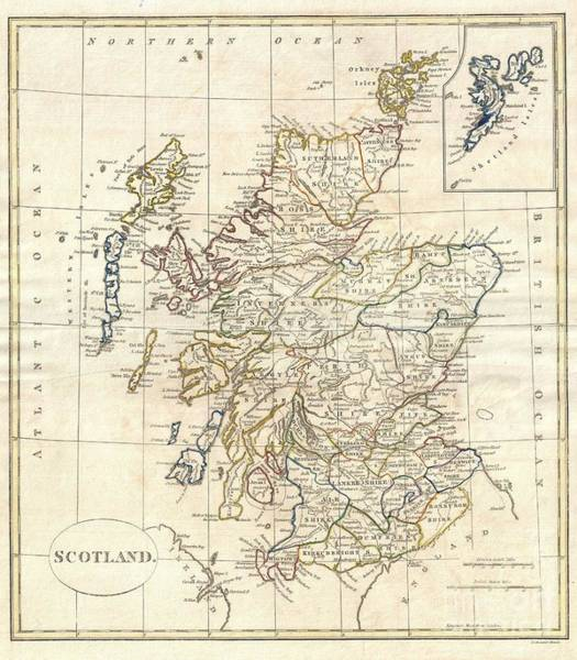 Dumbarton Wall Art - Photograph - 1799 Clement Cruttwell Map Of Scotland by Paul Fearn