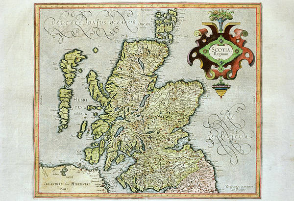 Cartography Photograph - 17th Century Map Of Scotland by George Bernard/science Photo Library