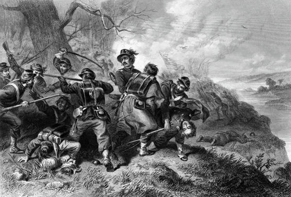 Bluffs Painting - 1800s 1860s Battle Of Balls Bluff by Vintage Images