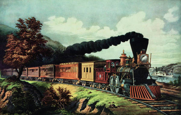 Vintage Railroad Painting - 1800s 1860s Currier Ives American by Vintage Images