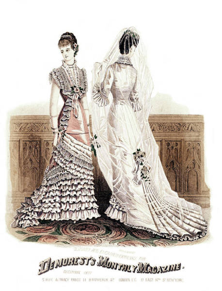Fashion Plate Painting - 1800s 1870s December 1877 Fashion Plate by Vintage Images