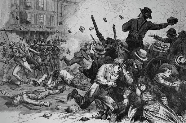 Vintage Railroad Painting - 1800s 1870s Great Railroad Strike 1877 by Vintage Images