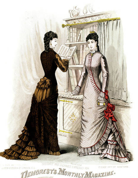 Fashion Plate Painting - 1800s 1870s Winter Dresses Fashion by Vintage Images