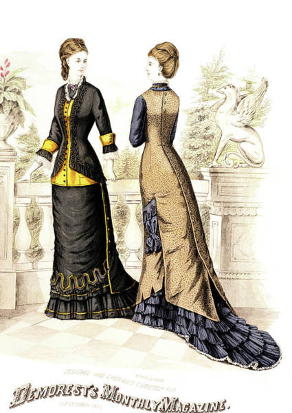 Fashion Plate Painting - 1800s 1870s Womens Fashion Plate by Vintage Images