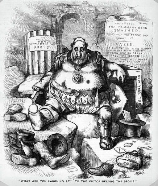 Political Cartoon Painting - 1800s 1871 Thomas Nast Cartoon Of Boss by Vintage Images
