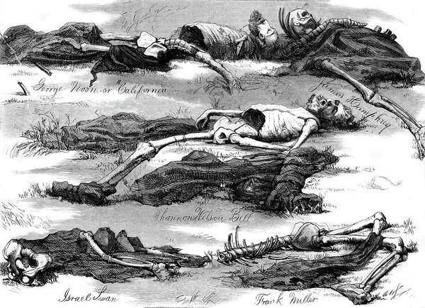 Hunger Painting - 1800s 1874 Drawing Bodies Men Murdered by Vintage Images