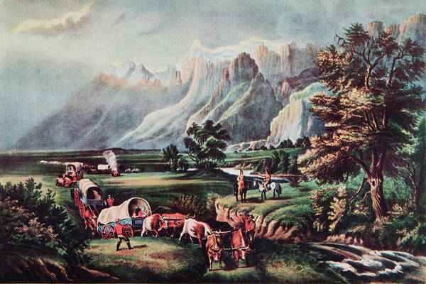 Migration Painting - 1800s Emigrants Settlers Wagon Train by Vintage Images