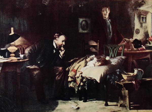 Pain Painting - 1800s Rural Country Doctor Ponders Fate by Vintage Images