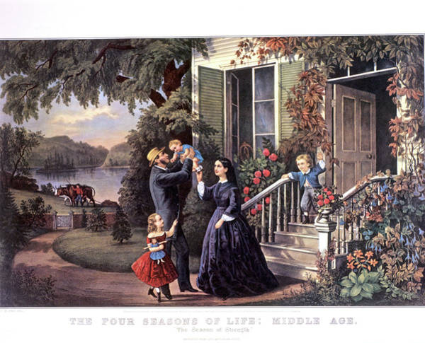 Currier And Ives Painting - 1800s The Seasons Of Life Middle Age - by Vintage Images