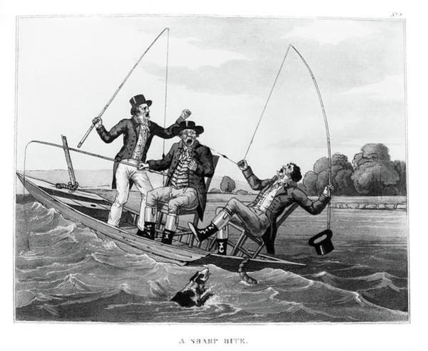 Angling Art Wall Art - Painting - 1800s Three 19th Century Men In Boat by Vintage Images