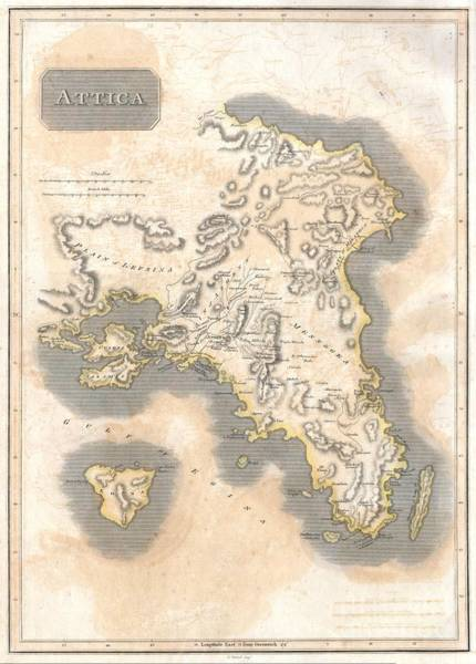 Athens Marathon Wall Art - Photograph - 1815 Thomson Map Of Attica Anthens And Vicinity Greece by Paul Fearn