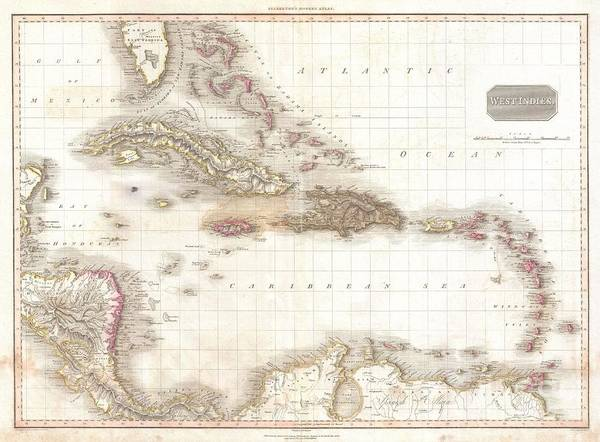 1818 Pinkerton Map Of The West Indies Antilles And Caribbean Sea Art Print