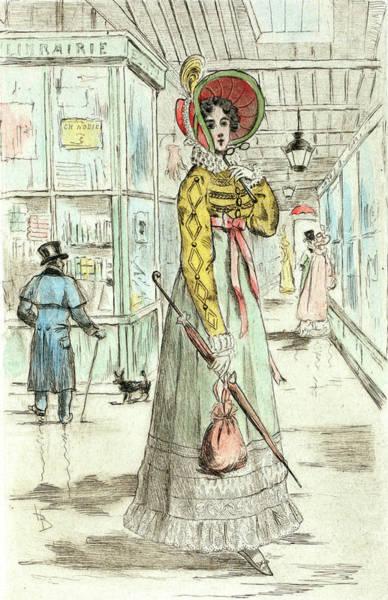 Wall Art - Drawing - 1820, Womens Fashion In Nineteenth-century Paris by Artokoloro