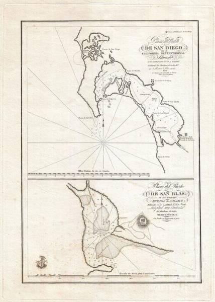 Ranchera Wall Art - Photograph - 1825 Victoria Map Of San Diego California And San Blas Mexico  by Paul Fearn