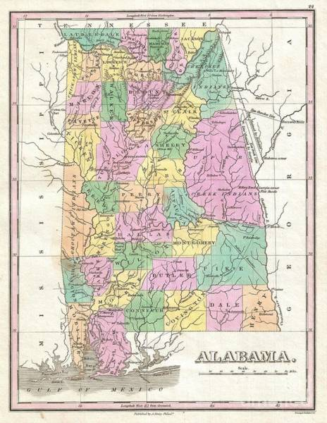 Boundary County Photograph - 1827 Finley Map Of Alabama by Paul Fearn