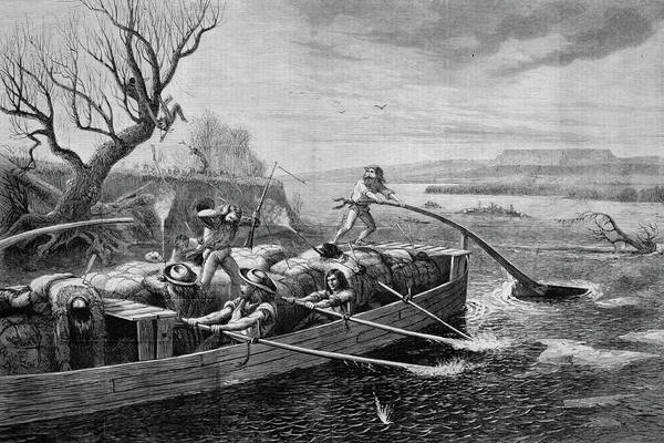 Rudder Painting - 1830s 1840s Fur Traders On The Missouri by Vintage Images