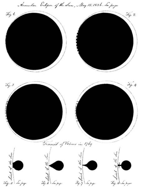 1851 Photograph - 1836 Baily's Beads And 1769 Venus Transit by Royal Astronomical Society/science Photo Library