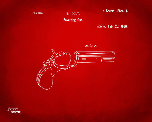 Wall Art - Digital Art - 1836 First Colt Revolver Patent Artwork - Red by Nikki Marie Smith