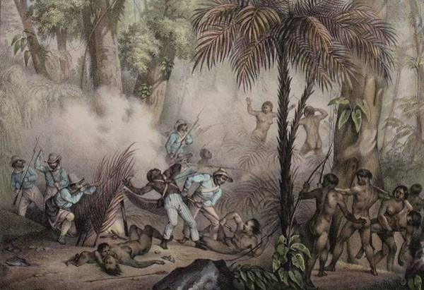 Minas Gerais Wall Art - Photograph - 1836 Rugendas Brazil Indian Masacre by Paul D Stewart