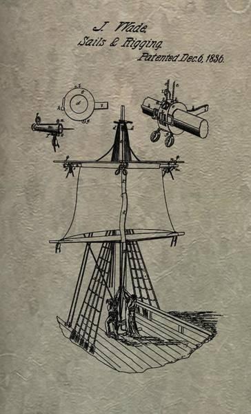 Schooner Digital Art - 1836 Sailboat Patent by Dan Sproul