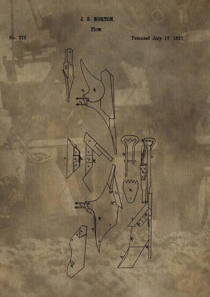 Wall Art - Digital Art - 1837 Antique Plow Patent by Dan Sproul