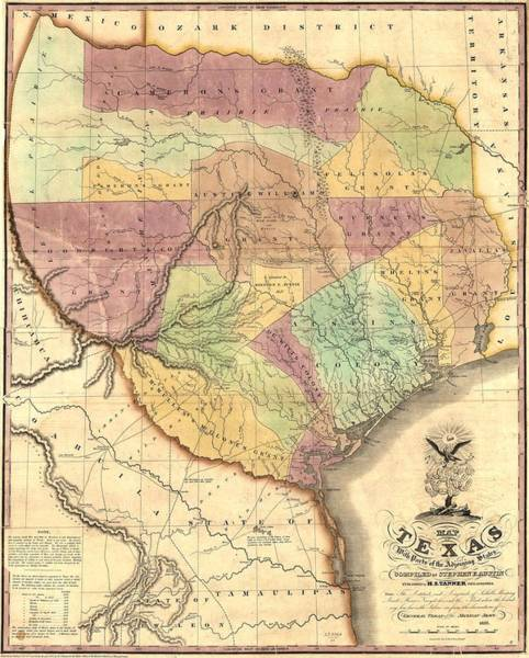 Painting - 1837 Map Of The Republic Of Texas by Unknown
