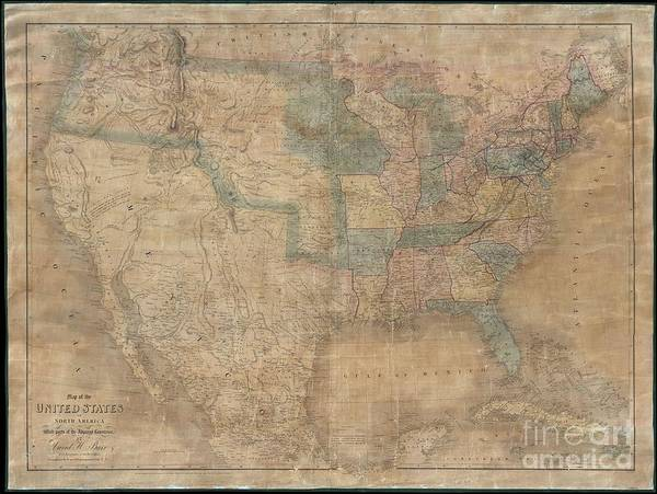 Become One Wall Art - Photograph - 1839 Burr Wall Map Of The United States  by Paul Fearn
