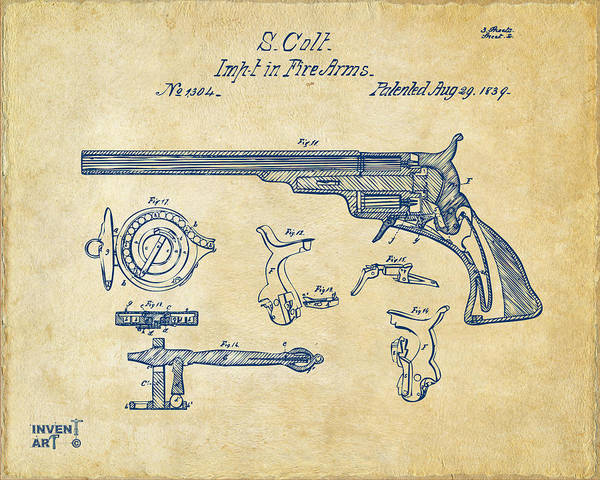 Digital Art - 1839 Colt Fire Arm Patent Artwork Vintage by Nikki Marie Smith